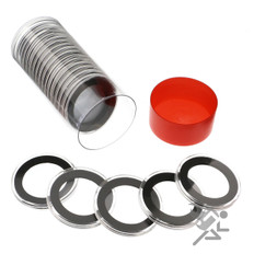 Red Capsule Tube & 20 Air-Tite 34mm Black Ring Coin Capsules
