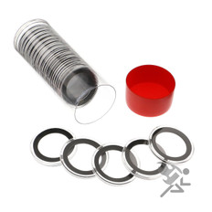 Red Capsule Tube & 20 Air-Tite 31mm Black Ring Coin Capsules
