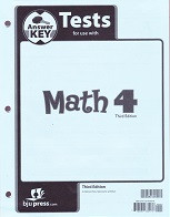 Math 4, 3d ed., Test Key