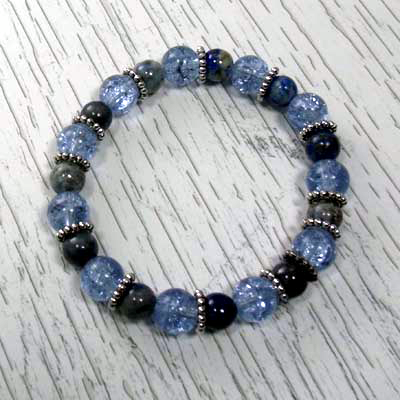 Blue Denim Lapis/Crackled Glass Stretch Bracelet