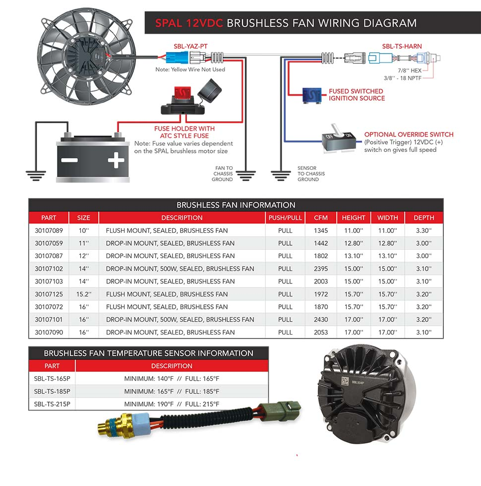 spal brushless fan and shroud packages learn more today rh wizardcooling com  spal fan relay wiring diagram