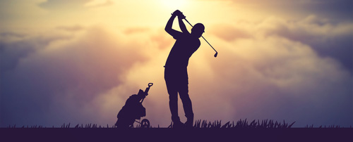 silhouette-of-golfers-hit-sweeping-and-keep-golf-course-in-the-summer-fo- relaxing-time
