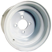 "10""x7"" Steel, White, Standard Golf Cart Wheel - Centered"