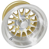 "10""x7"" RHOX Phoenix Machined/Gold Golf Cart Wheel"