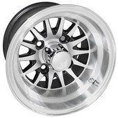 "10""x7"" RHOX Phoenix Machined Golf Cart Wheel with Black Insert"