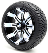 "12"" - ""Tempest"" Black/White Low Profile Tire and Wheel combo"