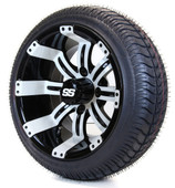 "14"" - ""Tempest"" Black/White Low Profile Tire and Wheel combo"