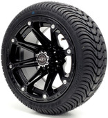 Madjax 12'' Black Element Wheels with Street Low Profile Tire Options Combo