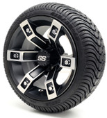 "12"" GTW Brute SS Machined Black Wheel and Low Profile Tire Combo"