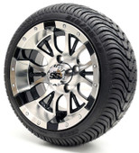 """12"""" GTW Diesel SS Machined and Black Wheel and DOT Tire Combo"""