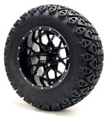 "12"" GTW Vortex SS Gloss Black Wheels Combo - Choose the Lift Kit"