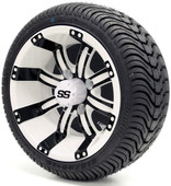 "12"" Tempest SS White and Black Wheel and Tire Combo"