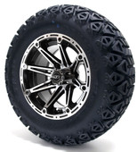 "Madjax 12"" Element Machined Black Wheels with Lifted Tire Options Combo"