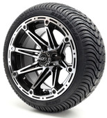 Madjax 12'' Machined Black Element Wheels with Street Low Profile Tire Options Combo
