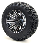 "Madjax 12"" Machined Black Avenger Wheels Combo - Choose the Lifted Tires and Lift Kit"