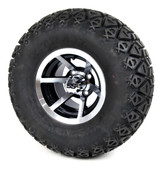 "10"" Machined Black Evader SS Wheels and Lifted Tires Combo - Choose the Lift Kit"