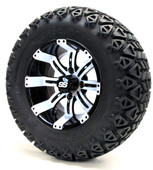 "12"" Black and White Tempest SS Wheels with Lifted Tire Options Combo"