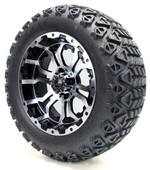 "Madjax 14"" Machined Black Omega Wheels Combo - Choose the Lifted Tires and Lift Kit"