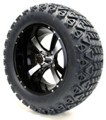 "14"" Twister SS Machined Black Wheels with Lifted Tire Options Combo"