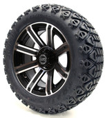"14"" Madjax Avenger Machined Black Wheels Combo - Lifted Tires"