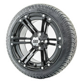 """14"""" RHOX RX351 Gloss Black Wheels and LowPro Tires Combo"""