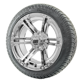 """14"""" RHOX RX352 Chrome Wheels and LowPro Tires Combo"""