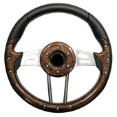 Aviator 4 Woodgrain Grip/Brushed Aluminum Steering Wheel