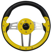 Aviator 4 Yellow Grip/Brushed Aluminum Steering Wheel