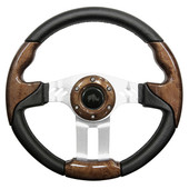 Aviator 5 Woodgrain Grip/Brushed Aluminum Steering Wheel