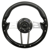 Aviator 4 Black Grip/Brushed Aluminum Steering Wheel