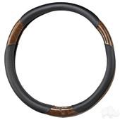 RHOX Steering Wheel Cover - Black and Woodgrain