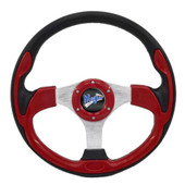 "Madjax Ultra II Red 13"" Golf Cart Steering Wheel"