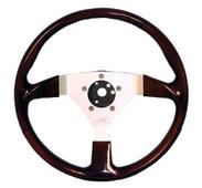 Grant FX 3-Spoke Faux Wood Golf Cart Steering Wheel
