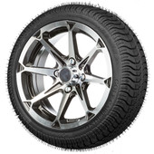 "14"" Compass Machined Black  - LowPro Street Tire and Wheels Combo"