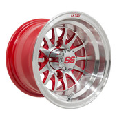 "10""x7"" GTW Medusa Machined w/ Red accent Golf Cart Wheel"