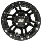 "10""x7"" GTW Specter Black Golf Cart Wheel"