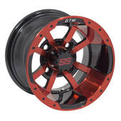 "10""x7"" GTW Storm Trooper Black w/Red accent Golf Cart Wheel"