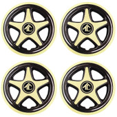 "8"" Star 5 Spoke Gold And Black Golf Cart Wheel Cover - Set of 4"