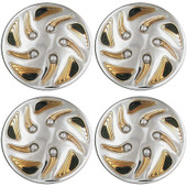 "8"" Swirl Style Gold And Chrome Golf Cart Wheel Covers - Set of 4"