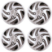 "8"" Swirl Style Black And Chrome Golf Cart Wheel Covers - Set of 4"