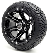 Madjax 12'' Black Nitro Wheels with Street Low Profile Tire Options Combo