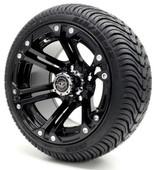 Madjax 12'' Black Nitro Wheels with Street Low Profile Tire Options Combo