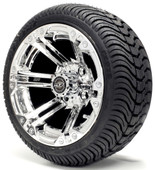 Madjax 12'' Chrome Nitro Wheels with Street Low Profile Tire Options Combo