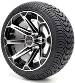 "Madjax 12"" Vortex Machined Black Wheels with Street Low Profile Tire Options Combo"