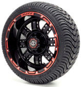 "Madjax 12"" Transformer Black and Red Wheels with Street Low Profile Tire Options Combo"