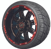 "Madjax 14"" Transformer Black and Red Wheels with Street Low Profile Tire Options Combo"
