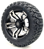 "Madjax 14"" Velocity Machined Black Wheels with Lifted Tire Options Combo"