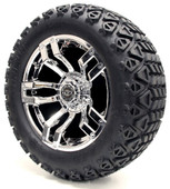 "Madjax 14"" Velocity Chrome Wheels with Lifted Tire Options Combo"