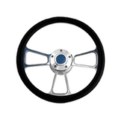Billet 3 Spoke Style Steering Wheel - Black Half Wrap Grip