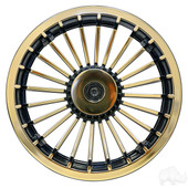 "8"" Gold Turbine Style Golf Cart Wheel Cover"